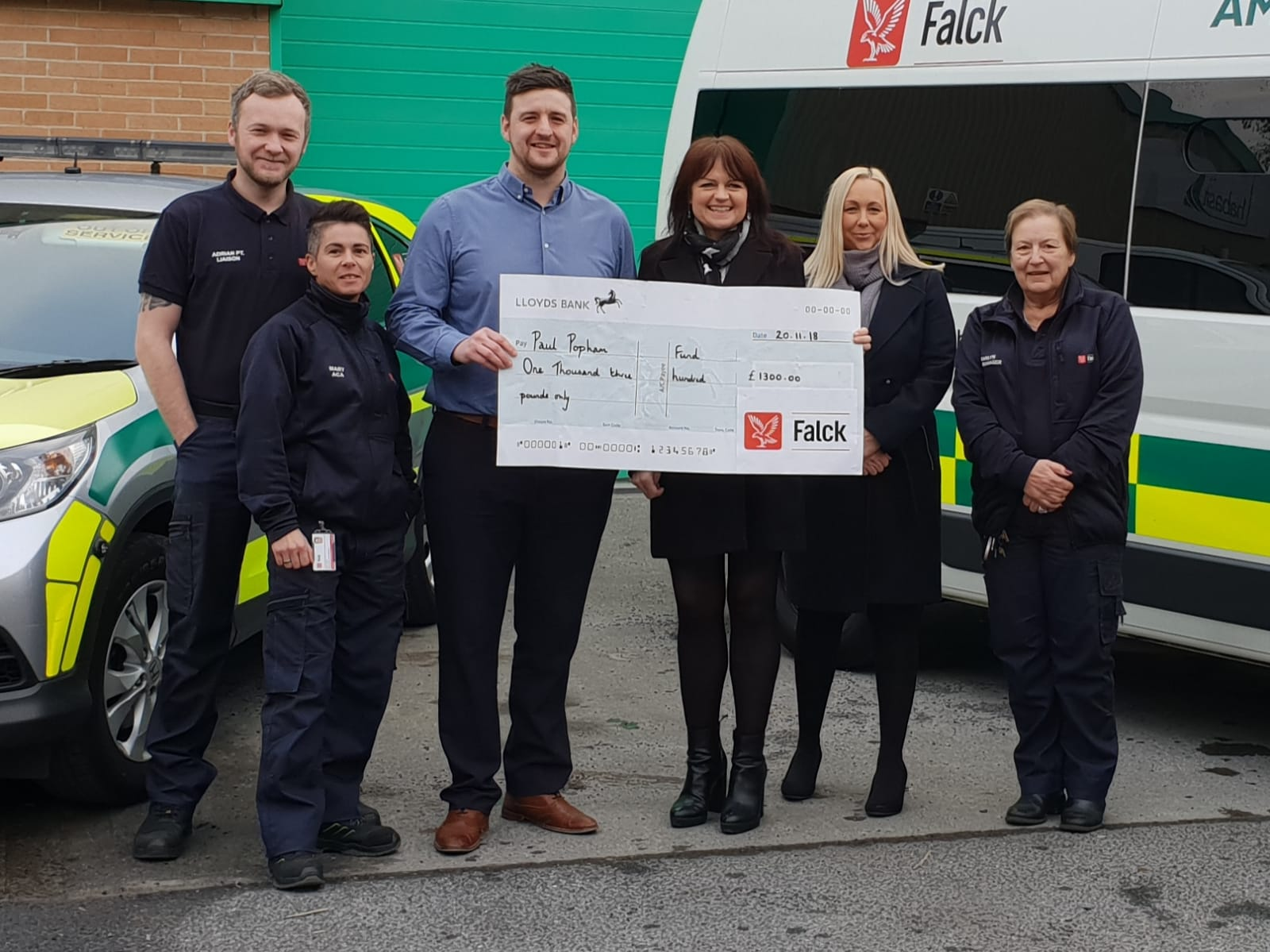 Falck Raises £1300 To Support The Paul Popham Fund / Renal Support Wales